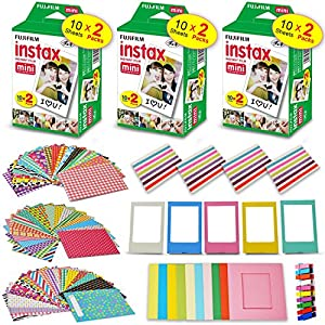 Xtech accessories Kit for Fujifilm Instax Mini 9/8 Camera includes: 3 x Fujifilm INSTAX Mini Film Pack (60 Sheets total), 60 Colorful Mini 9 Stickers + More