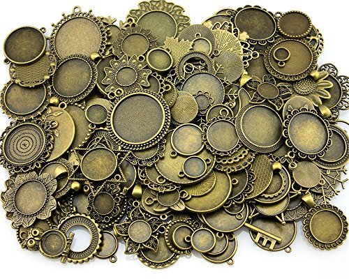 NEWME 50Pcs Round Inner Size Mix Designs Zinc Alloy Cameo Cabochon Base Setting DIY Crafts Photo Glass Blank Bezels (Bronze) by NEWME