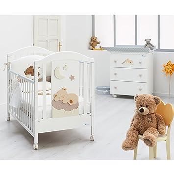 Babyzimmer Komplett SET Nannamia Mit Baby Bett, Wickeltisch, Matratze Und  Bettwäsche Azzurra Design Italy