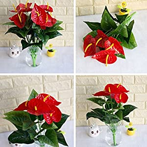 HsgbvictS Artificial Flowers 1 Bouquet/18Pcs Leaves Flower Anthurium Simulation Office Decoration - Green + Red 3