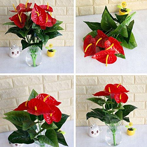 Anthurium Leaf - HsgbvictS Artificial Flowers 1 Bouquet/18Pcs Leaves Flower Anthurium Simulation Office Decoration - Green + Red