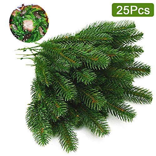 wonuu Artificial Pine Branches 25Pcs Christmas Green Plants Pine Needles Garland for Crafts Indoor and Outdoor Christmas Holiday Home Garden Decor from wonuu