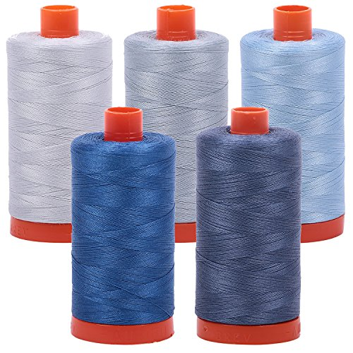 Bundle of (5) 1422 Yard Spools Aurifil 50 wt Quilter's Thread Piecing Colors: Shades of Grey and Blue