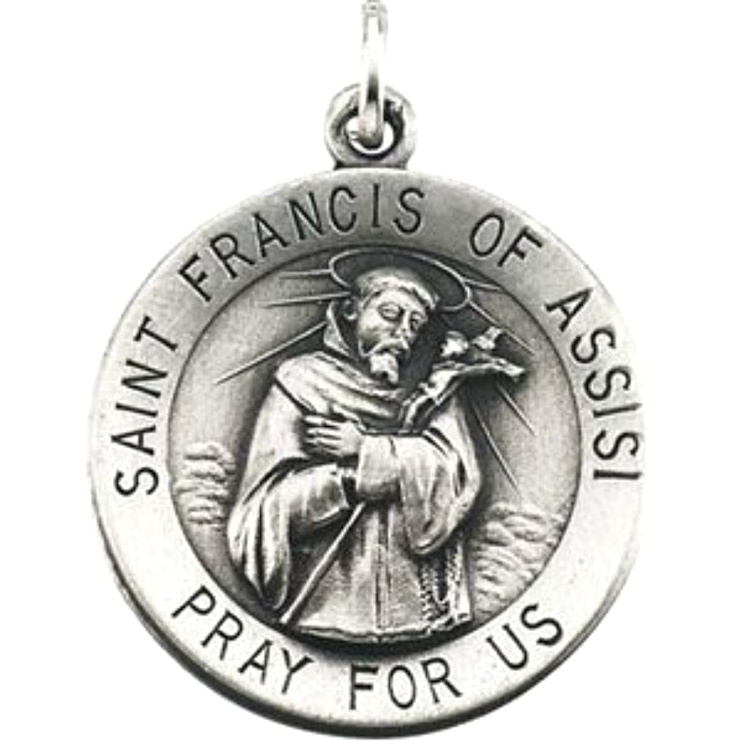 amazon com sterling silver st francis of assisi medal necklace