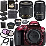 Nikon D5300 DSLR Camera with AF-P 18-55mm VR Lens (Red) 55-300mm f/4.5-5.6G ED VR Lens + EN-EL14 Replacement Lithium Ion Battery + External Rapid Charger + Carrying Case Bundle