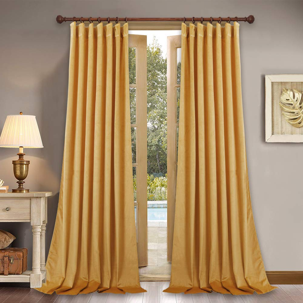 "Elegant Home Decor Velvet Curtains - Soft Thick Soundproof Velvet Drapes with Rod Pocket & Back Tab Light Blocking Privacy Protect for Party/Dining Room, Warm Yellow, 52"" x 96"" Each Panel, Set of 2"