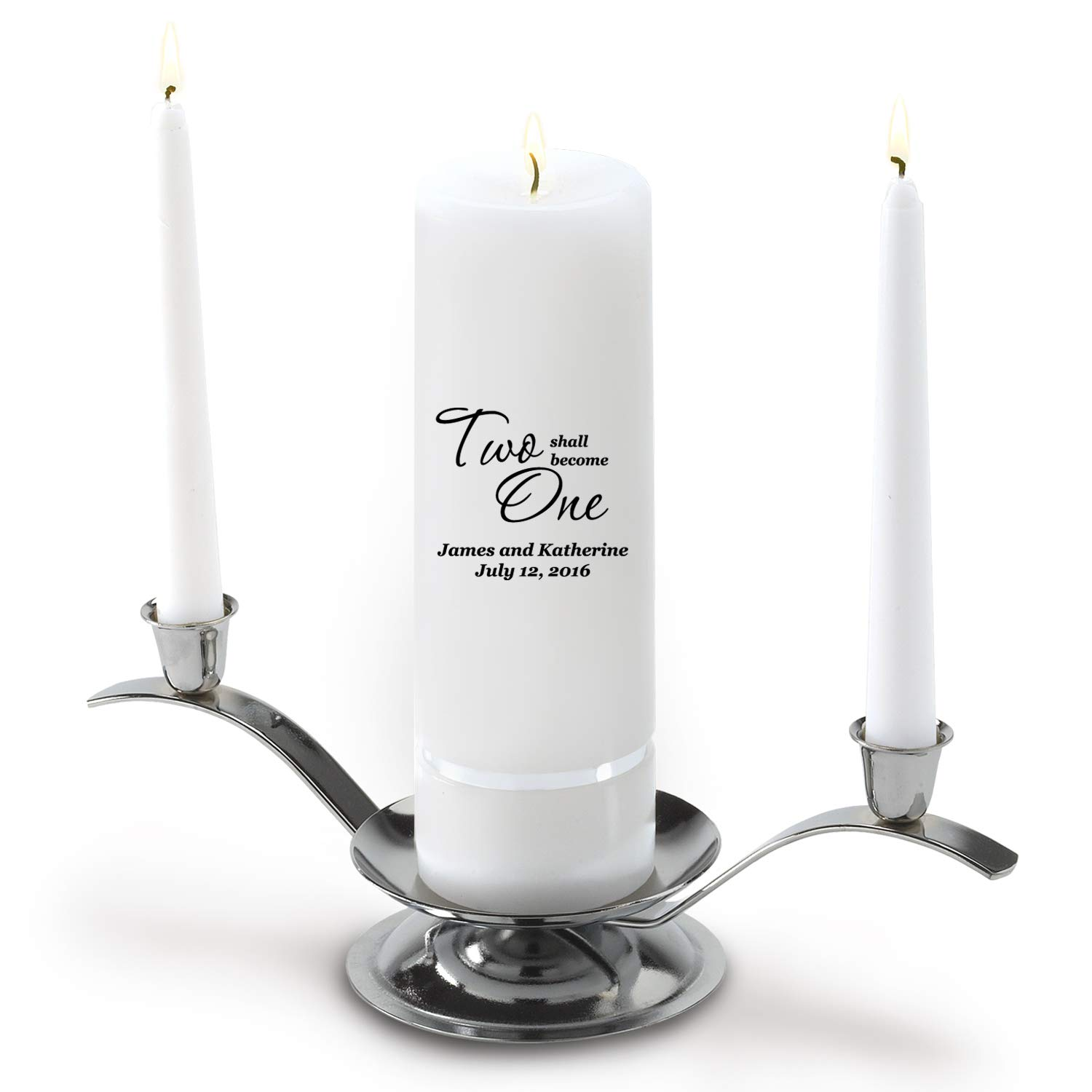 Personalized Wedding Unity Candle - Personalized Unity Candle Set - Two Shall Become One by A Gift Personalized