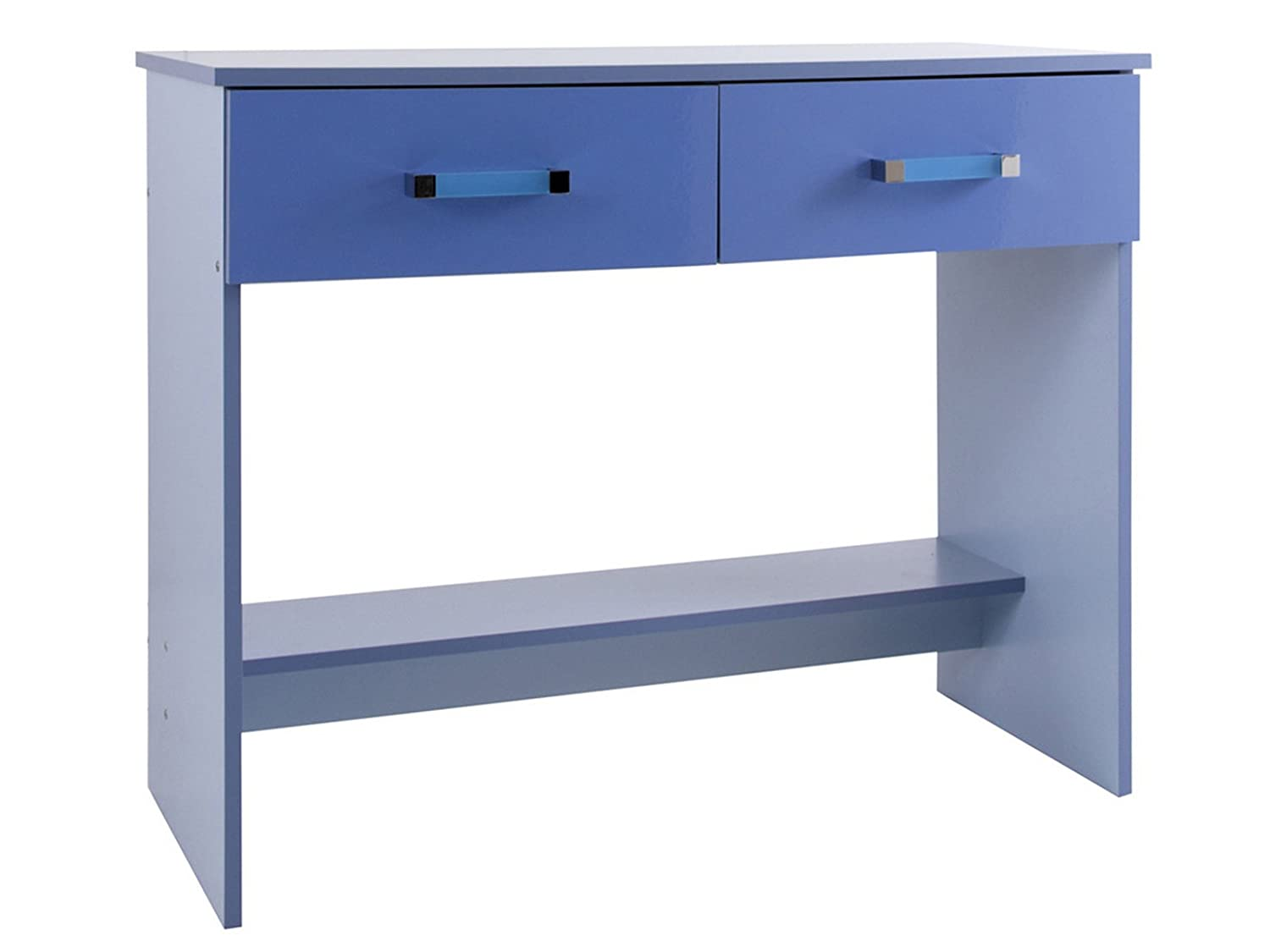 Bedroom 2 Drawer Dressing Table Study Desk in Two Tone Blue High Gloss Right Deals Uk Bluestudy