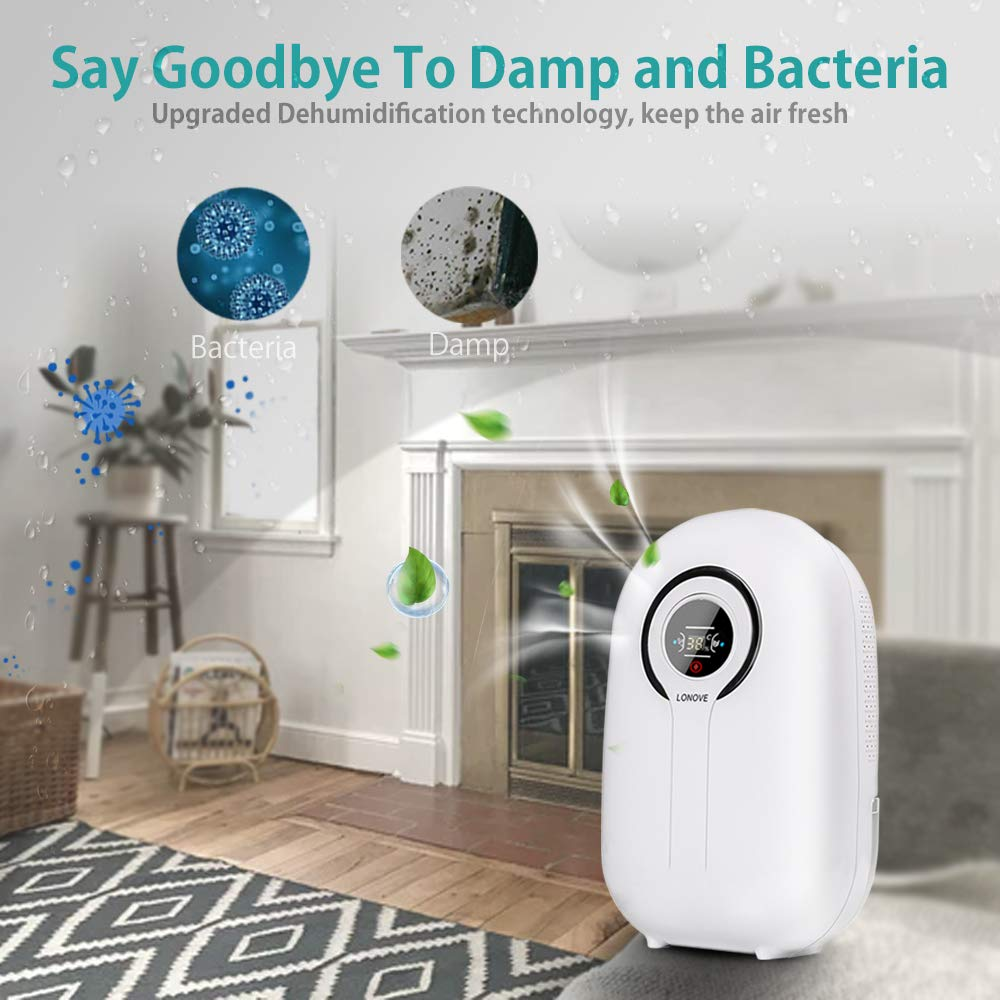 LONOVE Dehumidifier Portable 3.2 Pint Dehumidifiers for Space Up to 323 Sq.ft with Touch Control LCD Display Electric Dehumidifier for Bedroom RV Bathroom Home Basement Camper Office Garage Kitchen