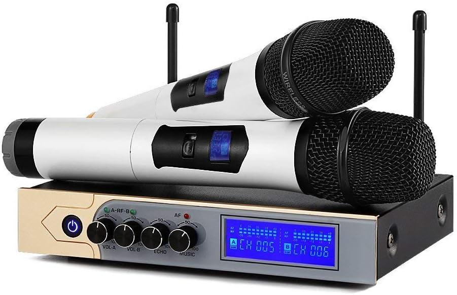Micrófonos Inalámbricos Bluetooth, ARCHEER UHF Dual Canal Sistema de Micrófono Profesional,Receptor de Micrófono Karaoke con Pantalla LCD,para Karaoke,Bar,Lugares de Entretenimiento,Boda y Reunión