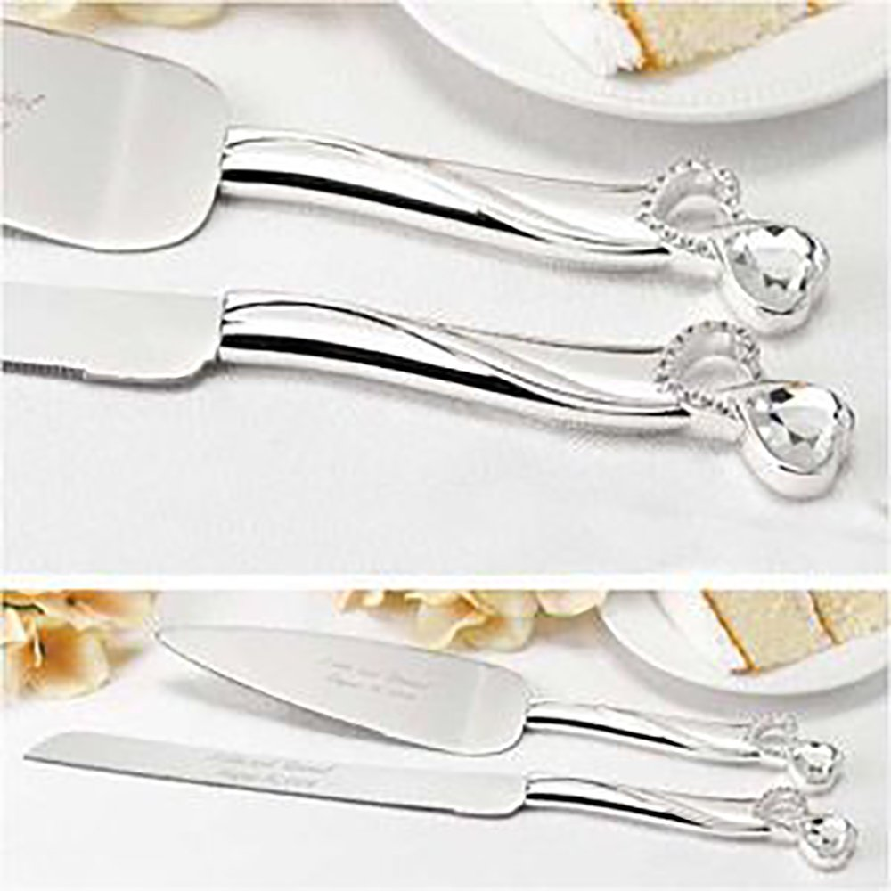 Party Friendly Electroplated Server Set with Hearts & Gems Serveware, 2 Pieces,Plastic (1 Knife, 14 1/8'', 1 Server, 11 3/4'') Elegant Wedding by Amscan