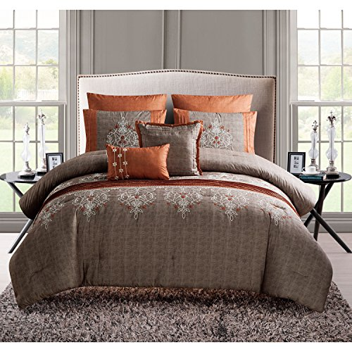 7 Piece Embroidered Floral Pattern Comforter Set King Size, Featuring Luxury Elegant Sophisticated Rich Chic Flowers Bedding, Beautiful Fashionable Rows Pintuck Design Master Bedroom, Orange, Spice