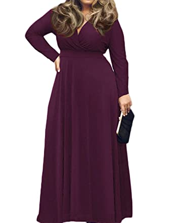 bc5890917ce POSESHE Women s Solid V-Neck Long Sleeve Plus Size Evening Party Maxi Dress  Purple L