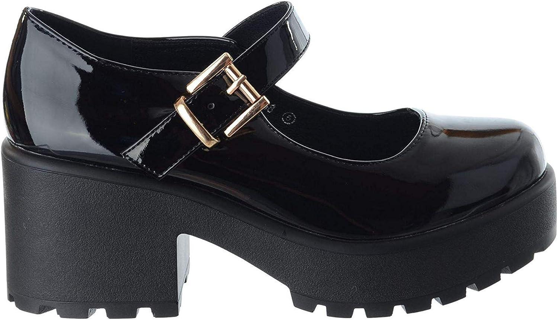 Mujer Grueso Medio Bloque Tac/ón Plataforma de Tiras Mary Jane Hebilla Zapatos Talla