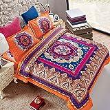 Mandala Comforter Set King, 3-Piece Orange Bohemian Boho chic Medallion...