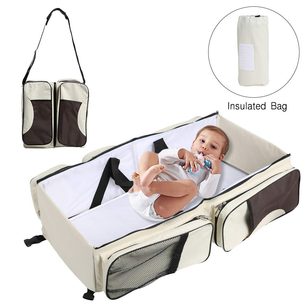 Baabyoo Baby Travel Bed and Bag Baby Diaper Bag Portable Baby Diaper Change Station 4 in 1 Folding Baby Bag Newborn Carrier Infant Bassinet Baby Tote Bag Folding Crib Baby Shower Gift (Blue)