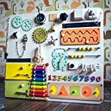 Big White Handmade Wooden Busy board, Clever Puzzles, Locks and Latches Activity Board