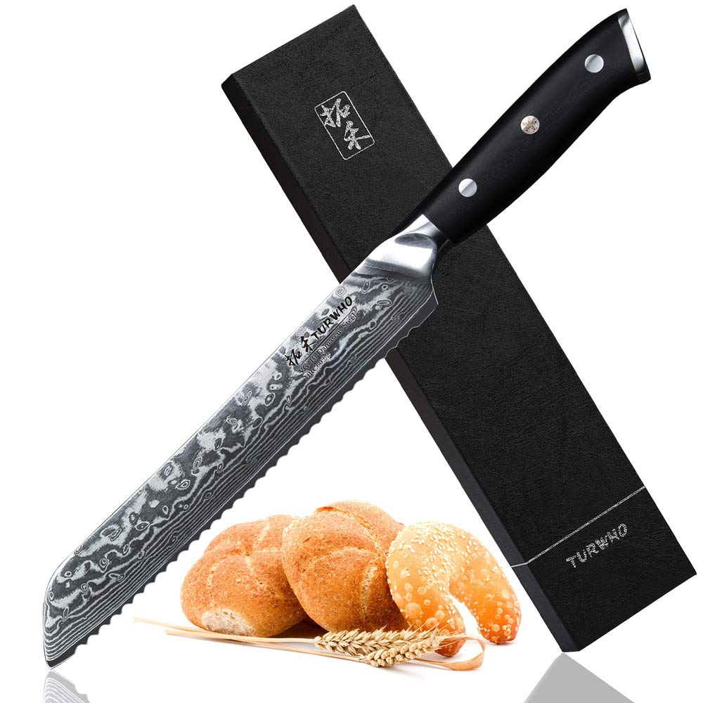 TURWHO Bread Knife - Serrated Edge - Japanese VG-10 Damascus 67-layers Steel - G10 Handle - He Series - 8''