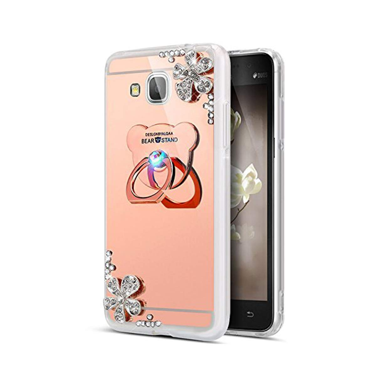 Coque Galaxy J3 2017 Europe Version Glitter Silicone, Miroir Coque pour Samsung Galaxy J3 2017, Ekakashop Luxe Beau 3D Bling Shiny Brillant Mirror Effect Cover Diamant de Fleur D'or Motif Soft TPU Silicone Transparent avec Strass Gliter Sparkle Protecteur