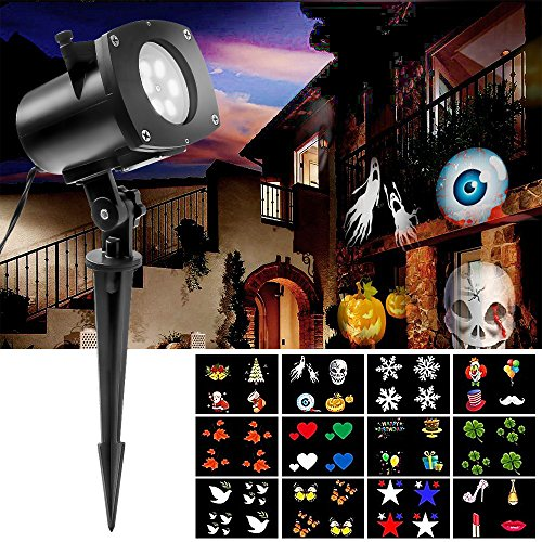 Hosyo Motion Landscape Lights Projector LED Spotlights120V Waterproof With 12pcs Switchable Pattern Gobos For Christmas Halloween Holiday Home Decoration Wall Motion Decoration