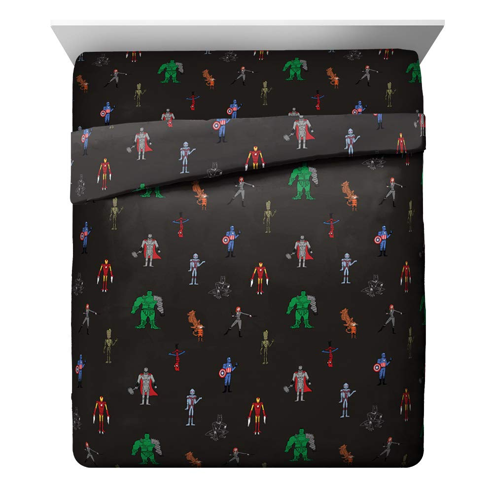 Jay Franco Marvel Justin Harder 4 Piece Queen Sheet Set Featuring The Avengers, Dark Gray by Jay Franco