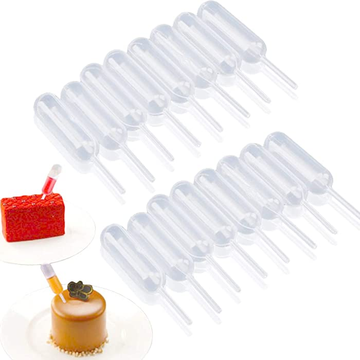 moveland 4ml Plastic Transfer Pipettes for Strawberries, Cupcakes Liquid Injectors Disposable Squeeze Dropper - 50 Pcs