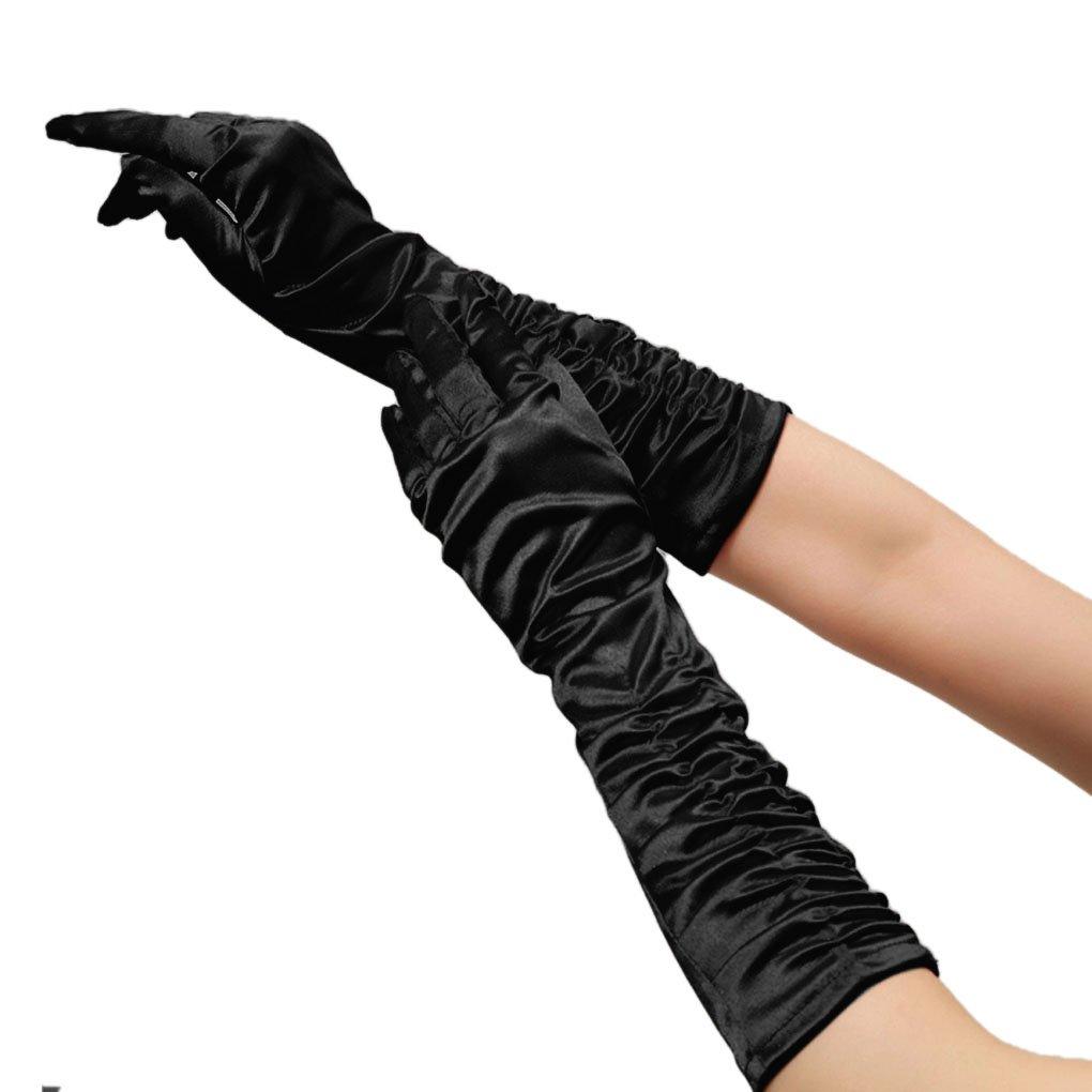 Women Classic Bridal Long Satin Banquet Party Wedding Opera Gloves Black