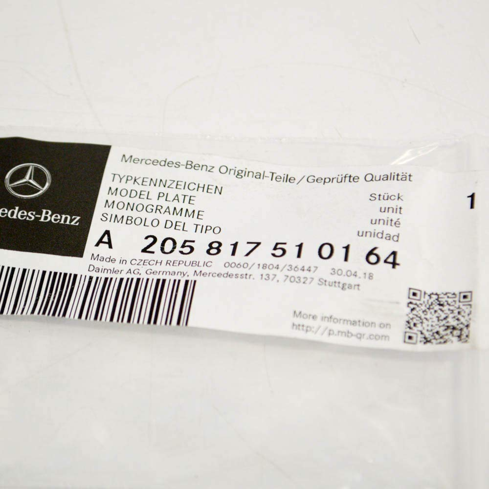 MB C 43 AMG W205 Grille pare-chocs avant Logo AMG A2058174901