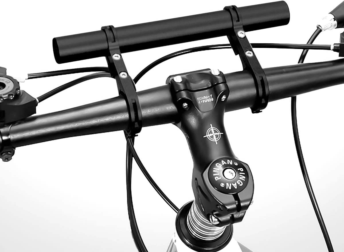 Extensi/ón de Manillar de Bicicleta Aluminio Abrazaderas Dobles Aleaci/ón Bici Soporte de Extensi/ón con Destornillador Negro 20cm Multifunci/ón Doble Soporte Manillar Bicicleta Extensor de Manillar