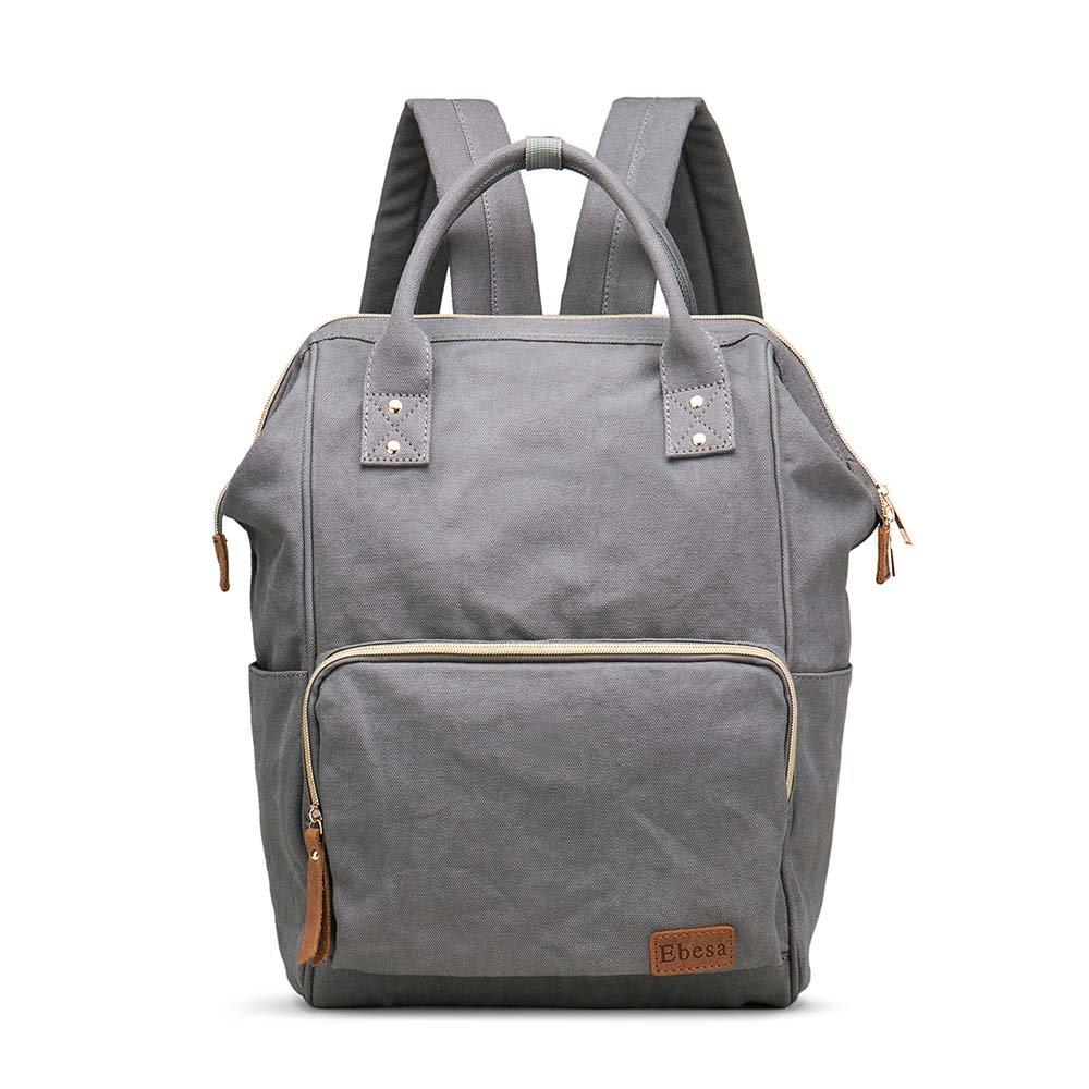 Multifunction Canvas Backpack Travel Bags for Man Woman Casual Laptop Rucksack (Semizipper Pocket x Grey EB)