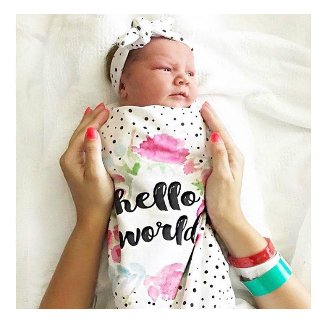 US Newborn Infant Baby Kids Swaddle Cocoon Wrap Warm Covers Blanket/&Headband Set