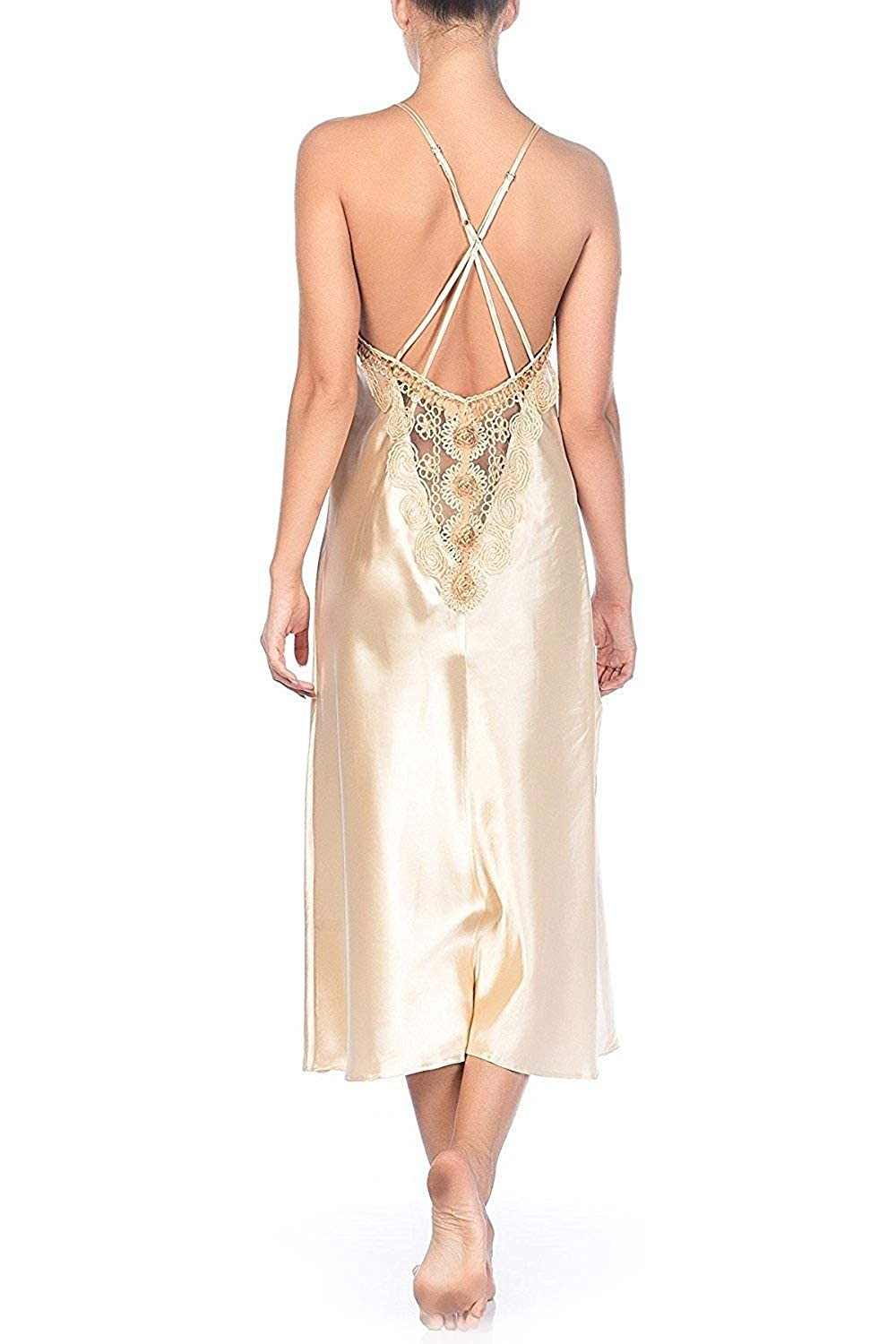 790eb8fc8567f Set of Sexy Luxurious Long Satin Nightgown in Beautiful Gold Color with  Matching G String, Irresistible Soft to Touch Charming Full Length  Nightdress with ...