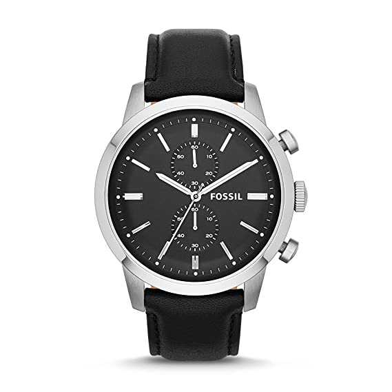 93d57e60e319 Amazon.com  Fossil Men s FS4866 Townsman Stainless Steel Chronograph Watch  With Black Leather Band  Fossil  Watches