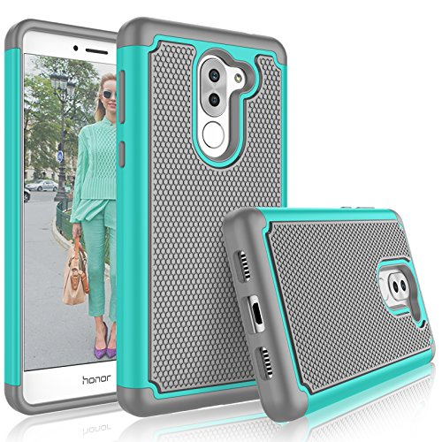 Honor 6X Case, Huawei Honor 6X Cute Case, Tekcoo [Tmajor] Shock Absorbing [Turquoise] Hybrid Rubber Silicone & Plastic Scratch Resistant Bumper Rugged Grip Sturdy Hard Cases Cover