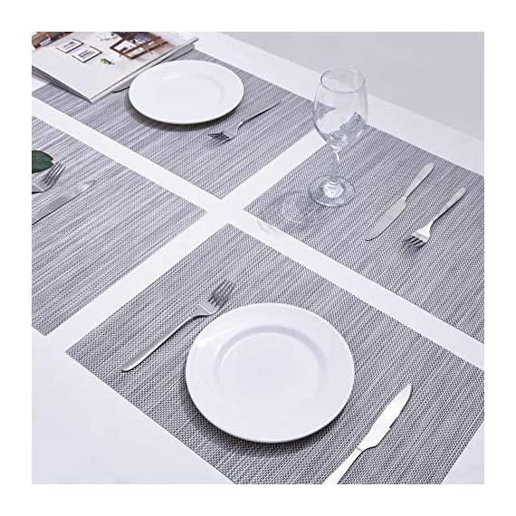 """Placemats Table Mats Gray Placemat Set of 8 Easy to Clean Non Slip Wipeable Place Mats Heat Resistant Farmhouse Modern Thanksgiving Christmas Table Mats for Dining Kitchen Table - Material:The table placemats are made of environmental PVC Material, these placemats for dining table are size in 18"""" x 12"""" (45cm x 30cm), pack of 8. The Features: The placemats set of 8 are non slip, heat insulation, easy to clean, just use wet towel or cloth to wipe off, also these gray placemats can be washed by soft brush. Protecting your table with these durable farmhouse placemats. The highest temperature of the placemats gray for heat insulation is 100 degree; Elegant Design: these kitchen placemats set of 8 are perfect addition to your dinner table,beautiful stylish and modern placemats to add more fun to your kitchen table,coffee time; - placemats, kitchen-dining-room-table-linens, kitchen-dining-room - 61UEeh1DEtL. SS570  -"""
