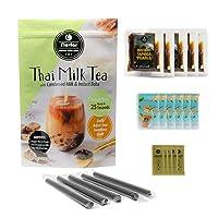 Flavfar Thai Milk Tea with Instant Tapioca Pearl - Global Chain Store Designated Dedicated Authentic Thai Bubble Tea. Include 5 Instant Boba, Thai Tea Powder, Condensed Milk and Boba Straw. | 20 Packs
