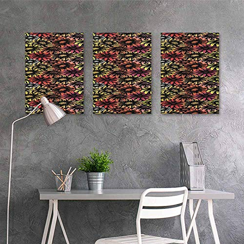 Vintage Football Canvas Daisy (HOMEDD Modern Decorative Painting,Floral Vintage Daisy and Sunflowers Retro Grunge Stylized Vibrant Artful Pattern Print,Contemporary Abstract Art 3 Panels,16x31inchx3pcs Multicolor)