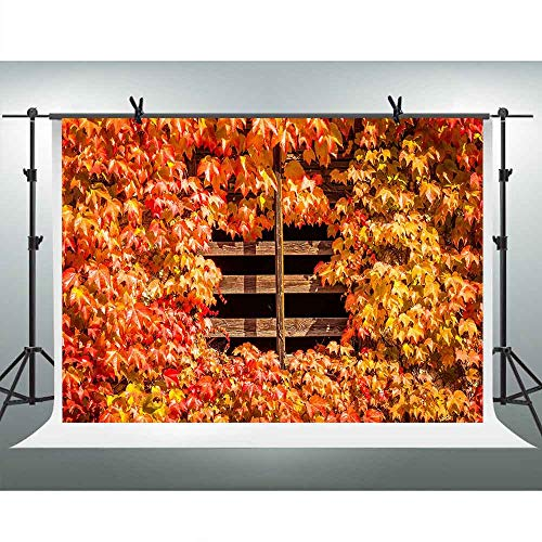 FHZON 10x7ft Red Yellow Leaves Photography Backdrops Wooden Window Background Portrait YouTube Backdrop Wallpaper Decoration Photo Booth Props LXFH838 ()
