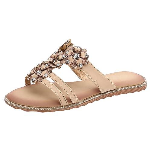 be712fe43740a Frestepvie Mules Compensée Femme Tongs Eté Sandales Confortable Chaussure  de Plage Fleur Vintage Vacances Sabots Vintage