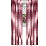 lovemyfabric Gingham/Checkered 100% Polyester Curtain Window Treatment/Decor Panel-Red and White (2, 56″X84″) For Sale