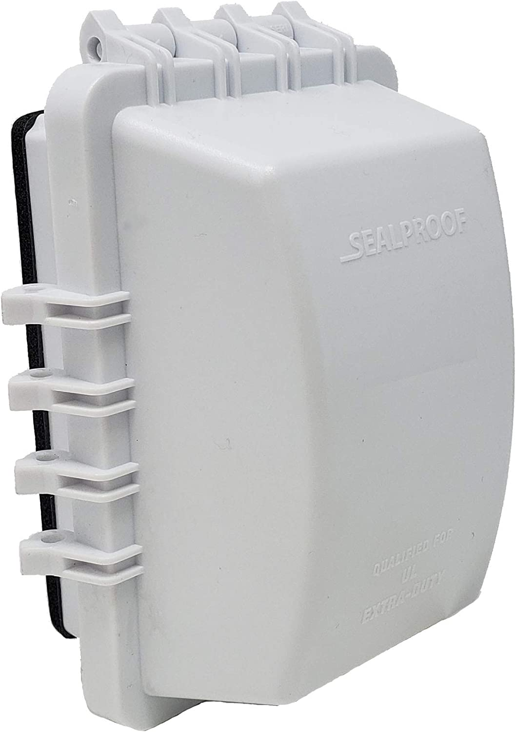 Two Gang Outdoor Plug and Receptacle Protector Lockable 45 Configurations UL Extra Duty Compliant Sealproof 2-Gang Weatherproof in Use Outlet Cover