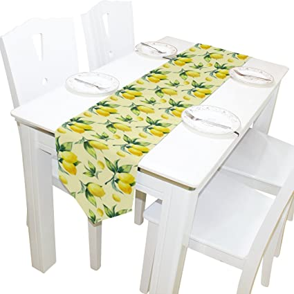 ALAZA Table Runner Home Decor, Vintage Tropical Lemon Fruit Table Cloth  Runner Coffee Mat For