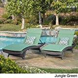 Home Toscana Outdoor Wicker Adjustable Chaise Lounge with Cushion (Set of 2) Jungle Green