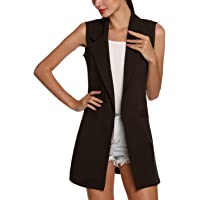 Flygo Women's Long Sleeveless Duster Trench Vest Casual Open Front Cardigan Blazer Jacket with Pockets