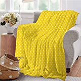 Luoiaax Vintage Yellow Commercial Grade Printed Blanket Traditional Polka Dot Pattern Traditional European Spotty Retro Design Queen King W54 x L72 Inch Yellow and White