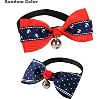 Adjustable Cat Collar Small Dog Collar Pet Collar with Bell and Bowknot Bowtie Collar for Cats and Puppy Red