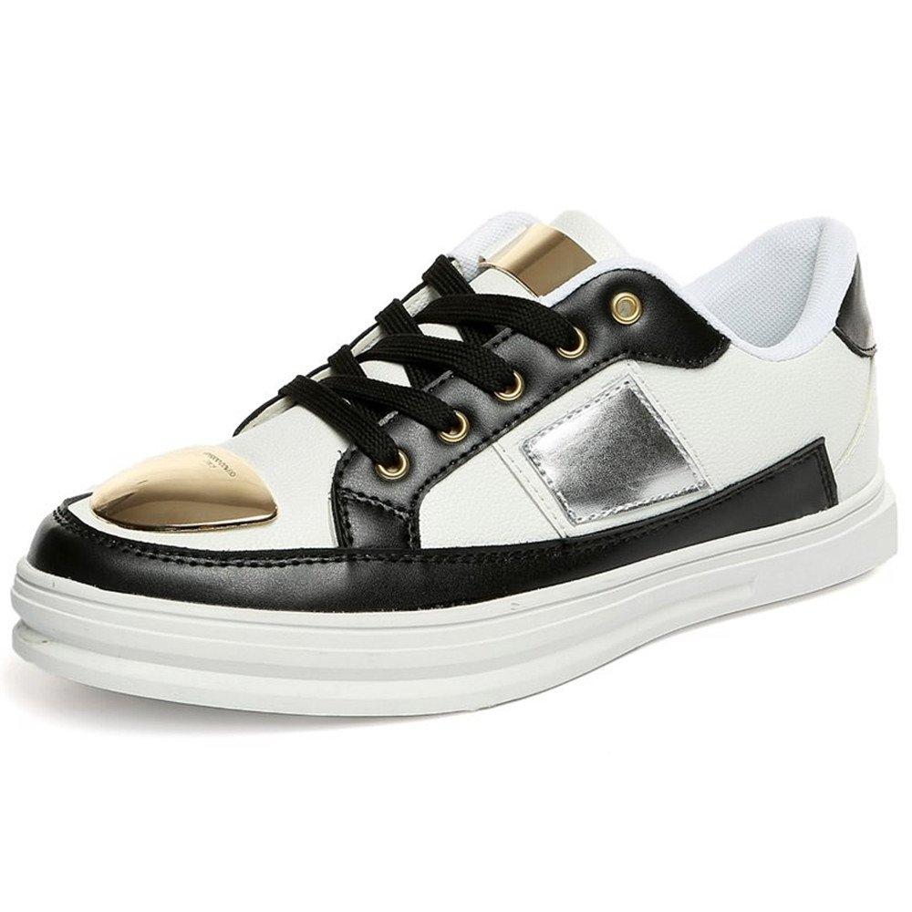 Sunny&Baby Zapatos de los Hombres Zapatillas de Moda Zapato Plano Tacón Plano Cierre con Cordones Tiras de Metal Decoraciones Resistente a la Abrasión 41 EU|White-black