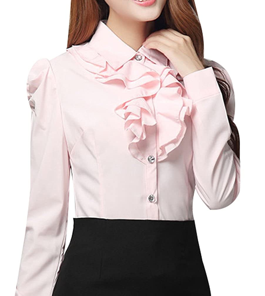 Yasong Women Ladies Long Sleeve Formal Top Work Blouse Frill Ruffle Blouse 112e65eaa