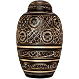 Funeral Urn by Liliane - Cremation Urn for Human Ashes - Hand Made in Brass and Hand Engraved - Fits the Cremated Remains of Adults as Well as the ashes of dogs, cats or other pets - Display Burial Urn at Home or in Niche at Columbarium (Rings of Love Model)