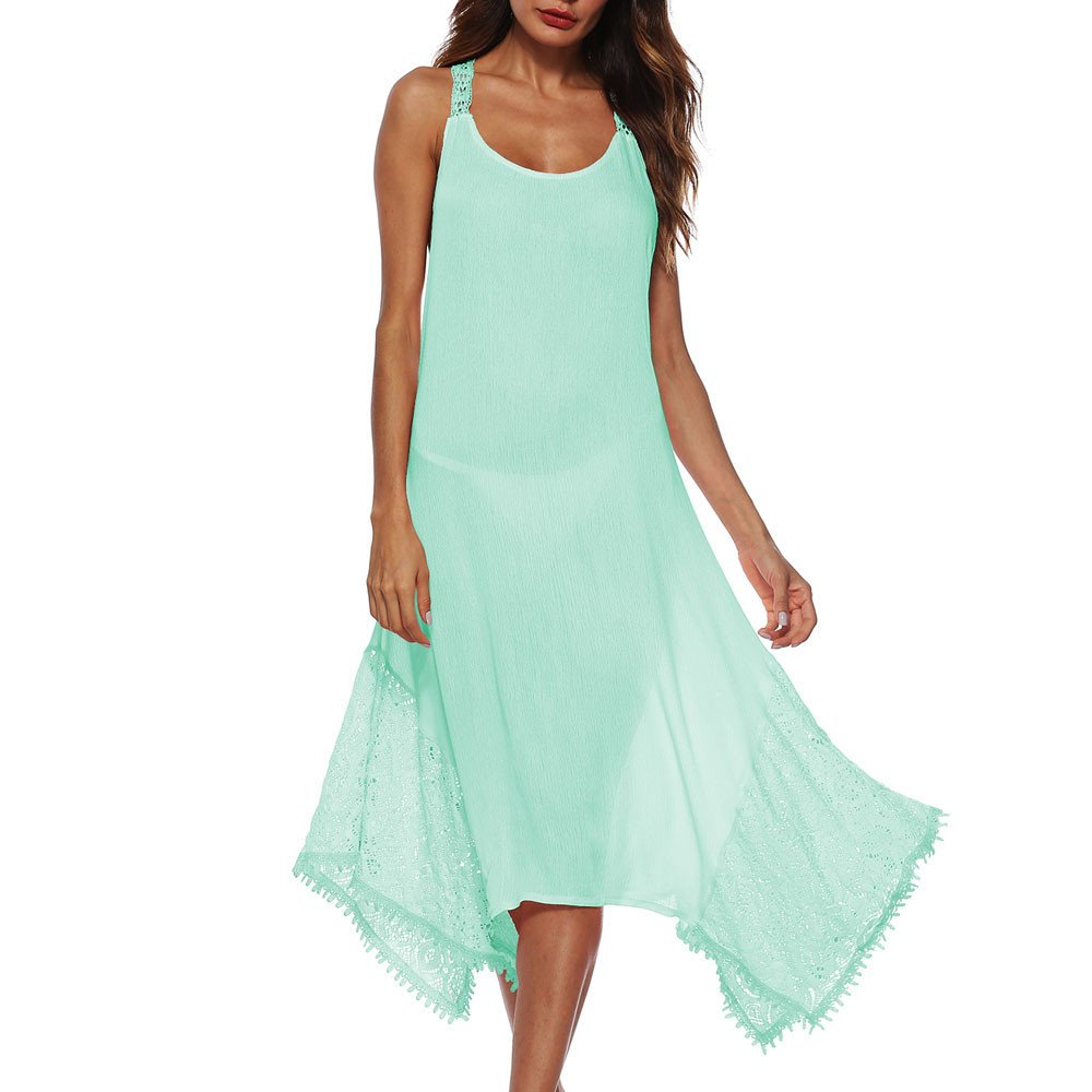 Women's Casual Swing Simple T-Shirt Loose Dress Green